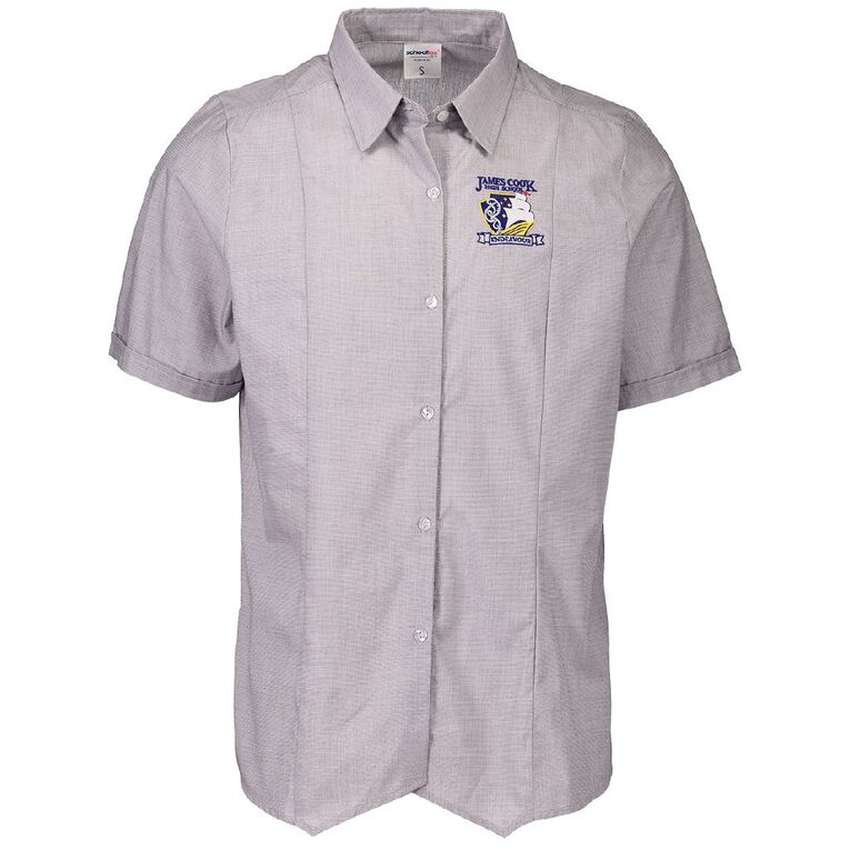 Schooltex James Cook Short Sleeve Blouse with Embroidery, Grey, hi-res