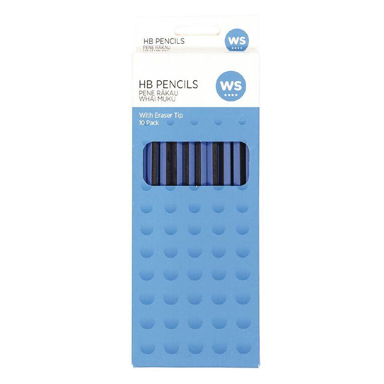 WS Pencil Hb W/ Eraser Tip 10 Pack Black, , hi-res