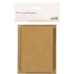 Uniti Mini Cards & Envelopes Kraft 6 Pack