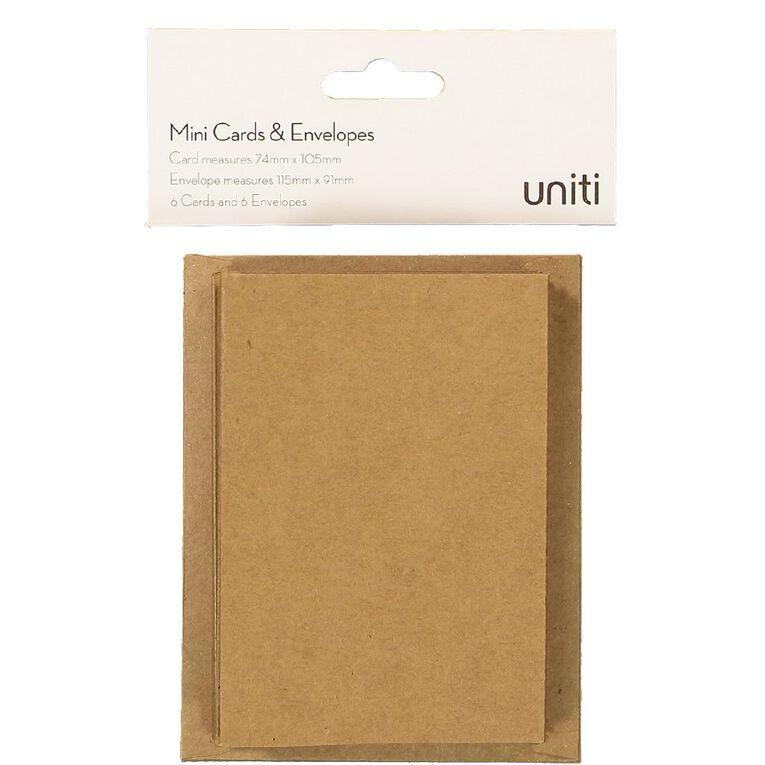 Uniti Mini Cards & Envelopes Kraft 6 Pack, , hi-res