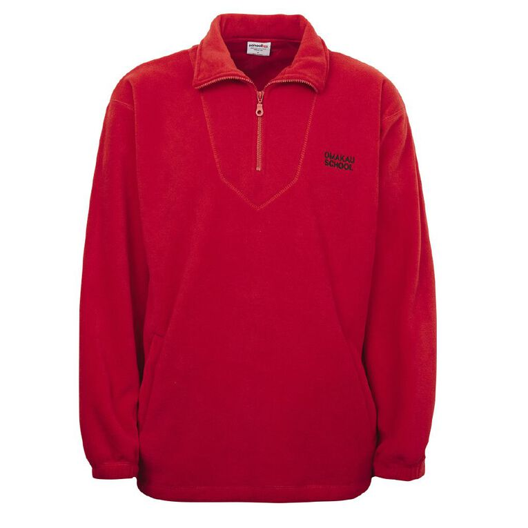 Schooltex Omakau Polar Fleece Top with Embroidery, Red, hi-res