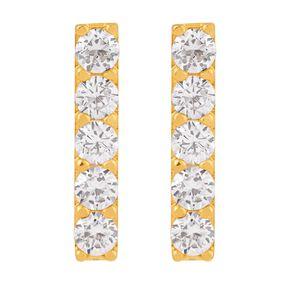 9ct Gold CZ Micro Set Bar Stud Earrings
