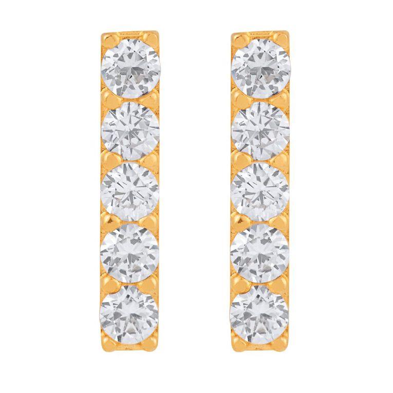 9ct Gold CZ Micro Set Bar Stud Earrings, , hi-res