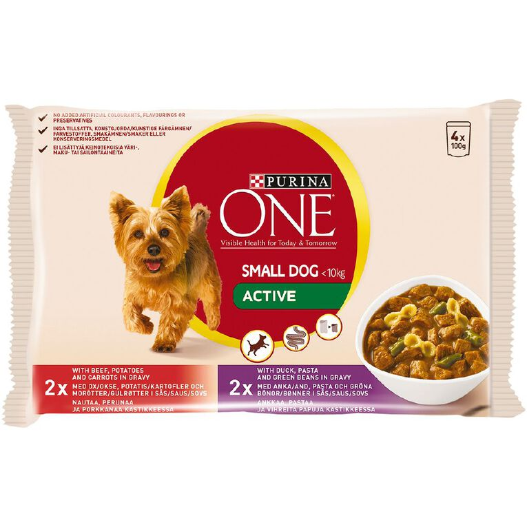 Purina ONE Dog Small/Mini Active Beef & Duck Multipack (4x100g), , hi-res