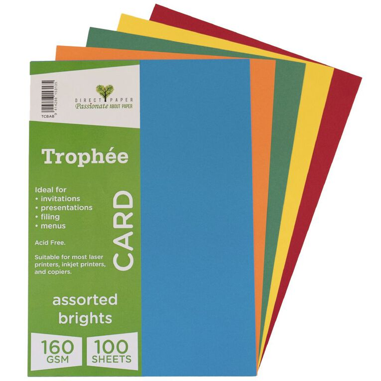 Trophee Card 160gsm 100 Pack Brights Assorted A4, , hi-res
