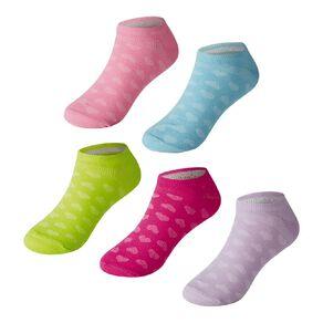 Active Intent Girls' Microfibre No Show Socks 5 Pack