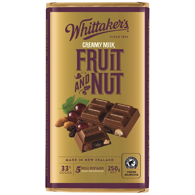 Whittaker's Fruit and Nut Block 250g, , hi-res