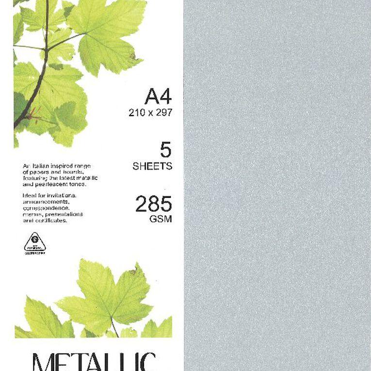 Direct Paper Metallic Board 285gsm 5 Pack Silver A4, , hi-res