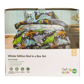 Living & Co Kids Bed In a Box Set Dino Aqua Single