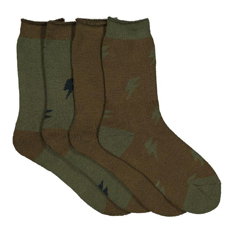 H&H Boys' Thermal Socks 4 Pack, Khaki, hi-res