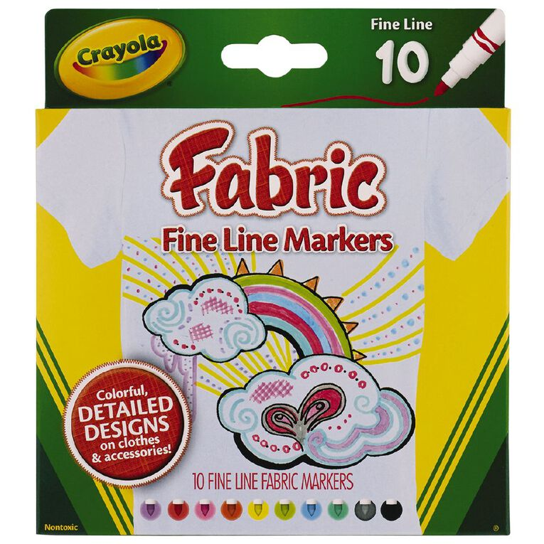 Crayola Fine Line Fabric Markers 10 Pack, , hi-res