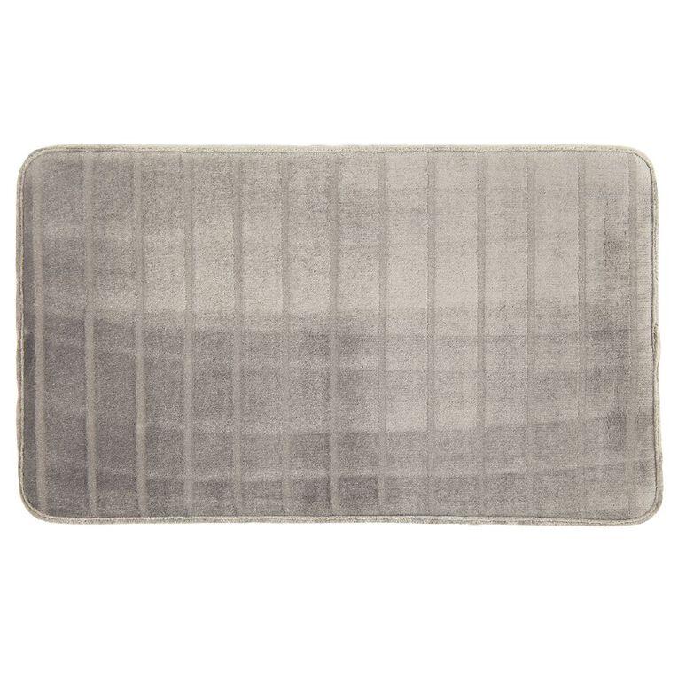 Living & Co Bath Mat Memory Foam Pewter 45cm x 75cm, Pewter, hi-res