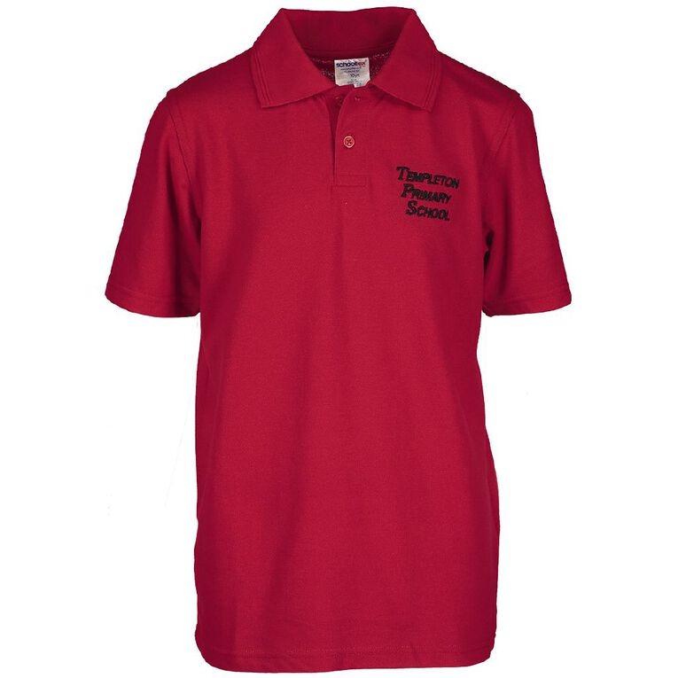 Schooltex Templeton Primary Short Sleeve Polo with Embroidery, Red, hi-res