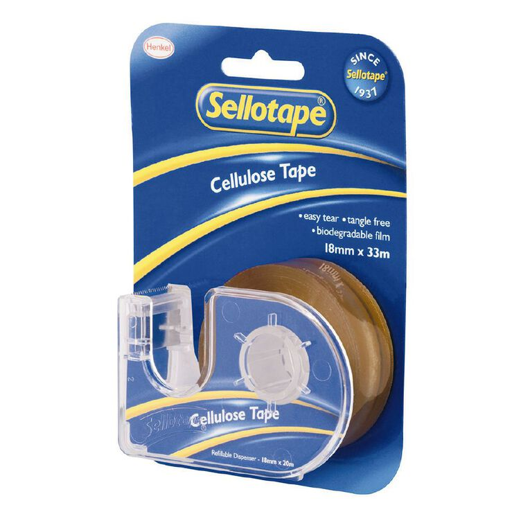 Sellotape Tape Dispenser 18mm x 33m Single Clear, , hi-res