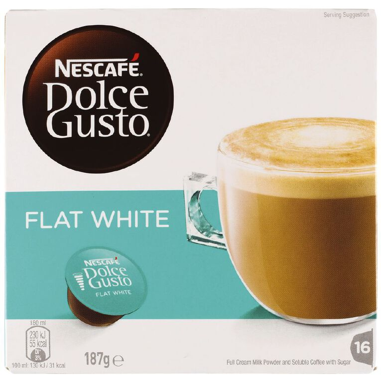 Nescafe Dolce Gusto Capsules Flat White 16 Pack, , hi-res