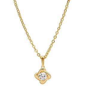 9ct Gold Knott CZ Pendant