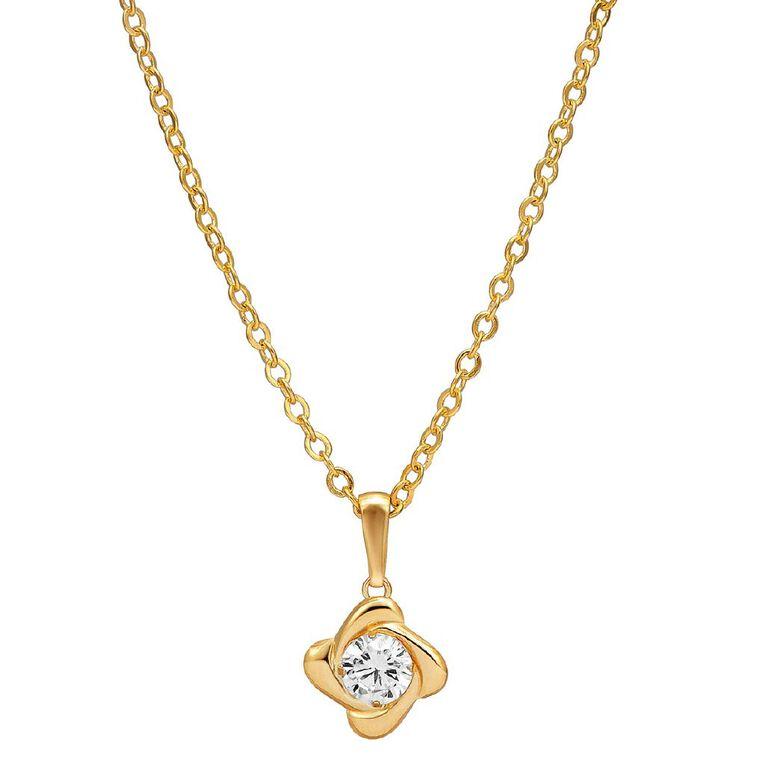 9ct Gold Knott CZ Pendant, , hi-res