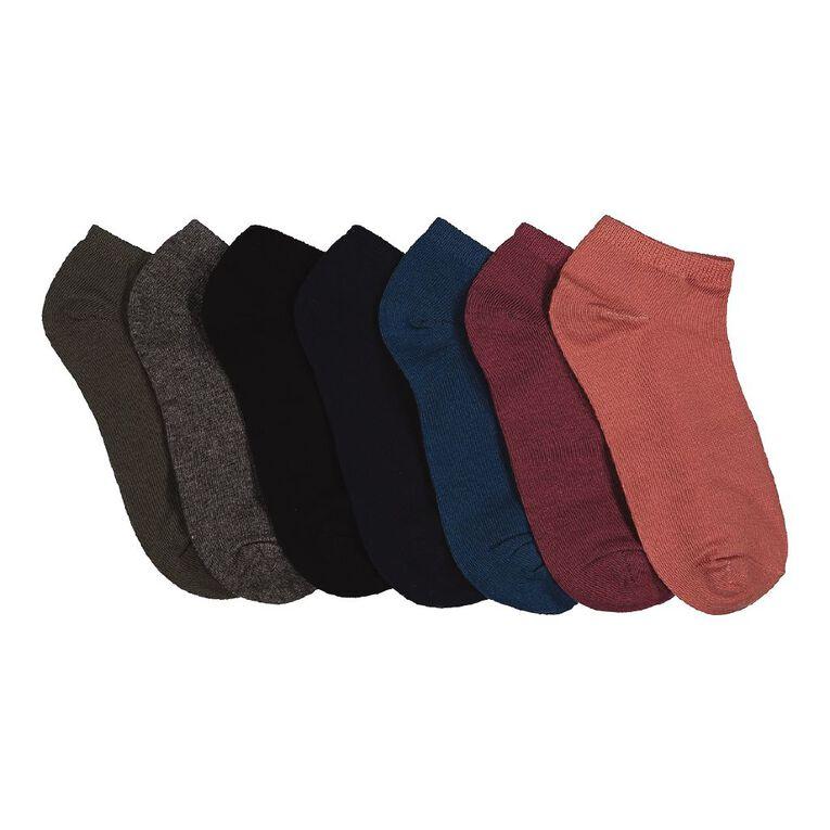 H&H Boys' Plain Liner Socks 7pk, Mixed Assortment, hi-res