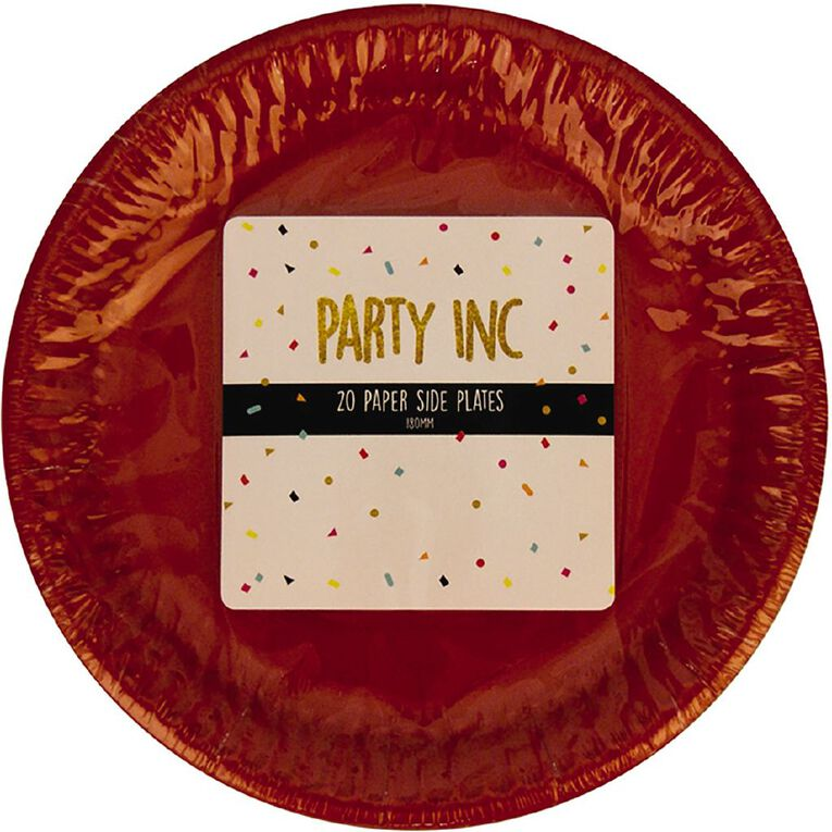 Party Inc Paper Side Plates 18cm Red 20 Pack, , hi-res