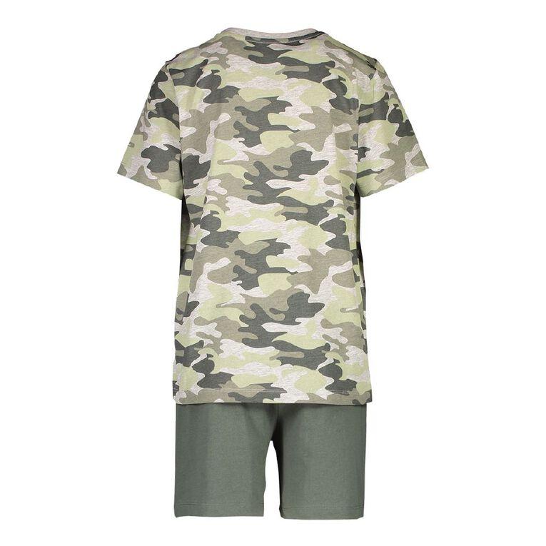 H&H Boy's Short Sleeve Pyjama Set, Khaki, hi-res