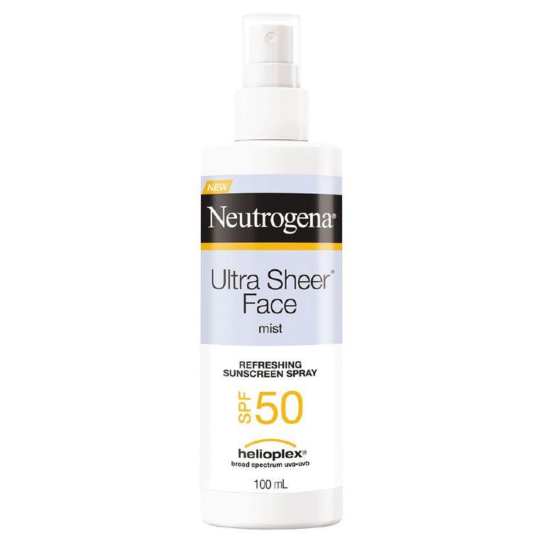 Neutrogena Ultra Sheer Facial Mist SPF50 100ml, , hi-res