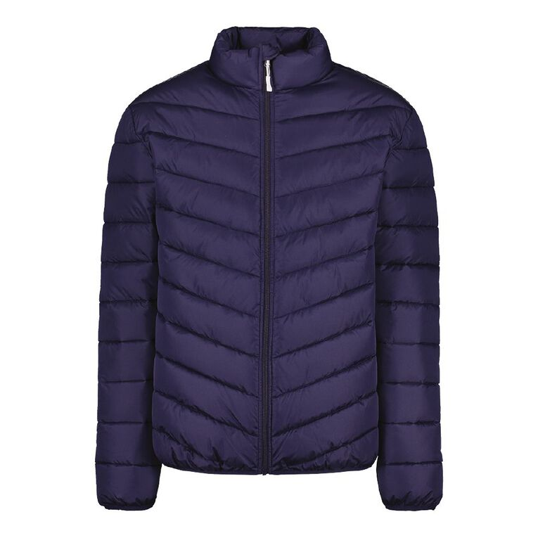 H&H Men's Recycled Puffer Jacket, Navy, hi-res