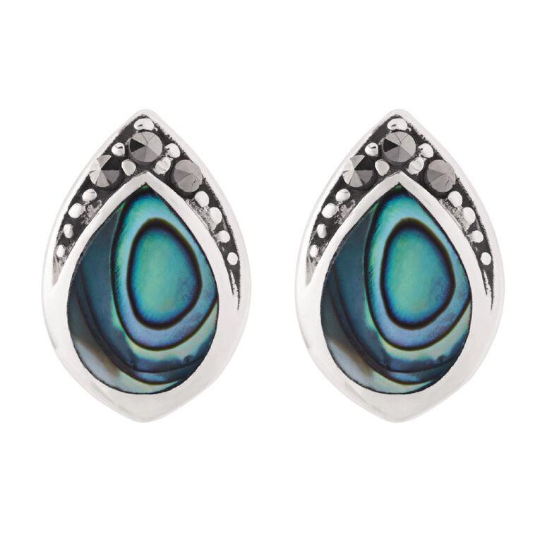 Sterling Silver Paua Tribal Stud Earrings, , hi-res
