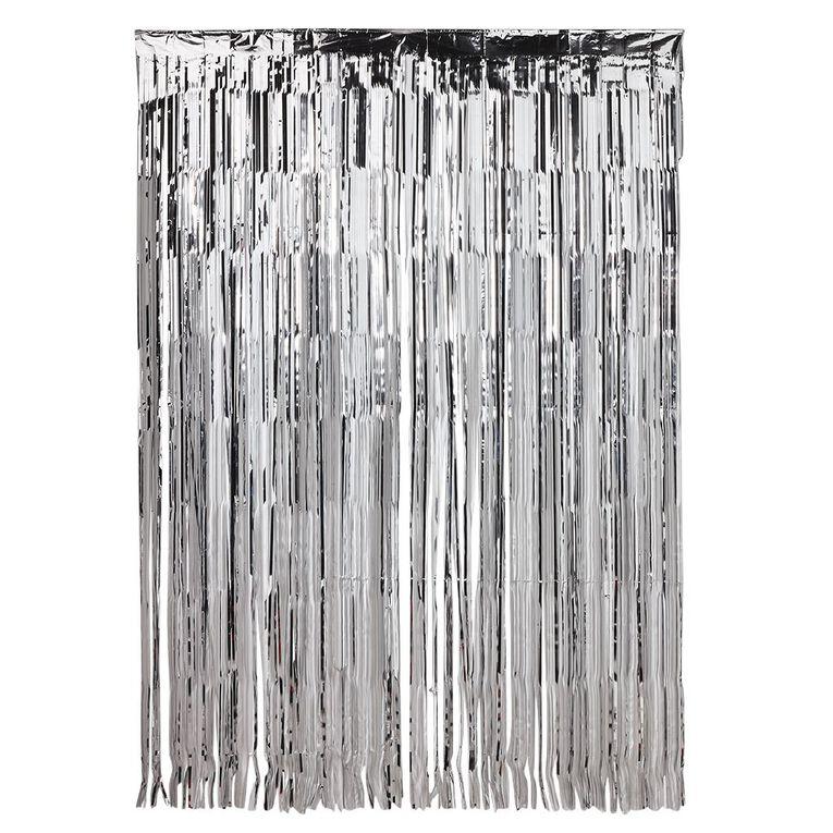 Party Inc Foil Backdrop 147cm (w) x 240cm (l) Silver, , hi-res