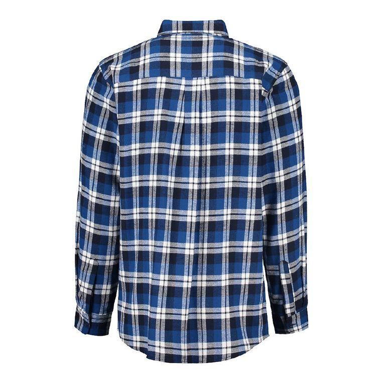 H&H Men's Long Sleeve Flannelette Shirt, Blue, hi-res