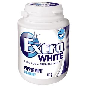 Extra White Peppermint Chewing Gum SF Bottle 46 Piece 64g White 64g