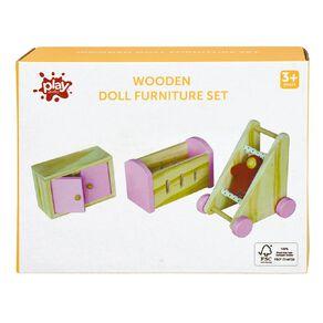 Play Studio Wooden Doll Furniture Set 3p