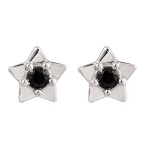 Sterling Silver Black Synthetic Sapphire Star Stud Earrings