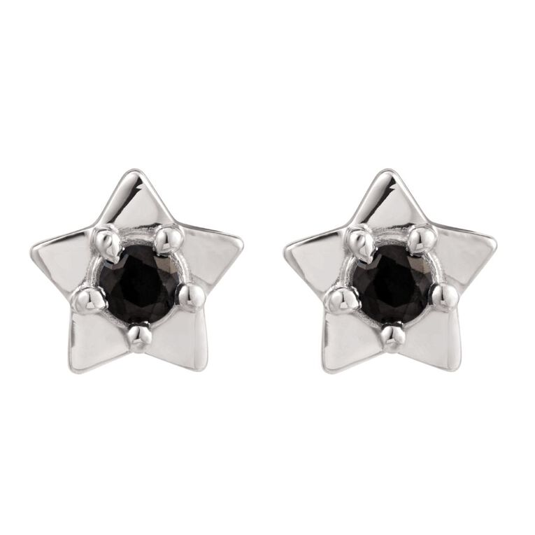 Sterling Silver Black Synthetic Sapphire Star Stud Earrings, , hi-res