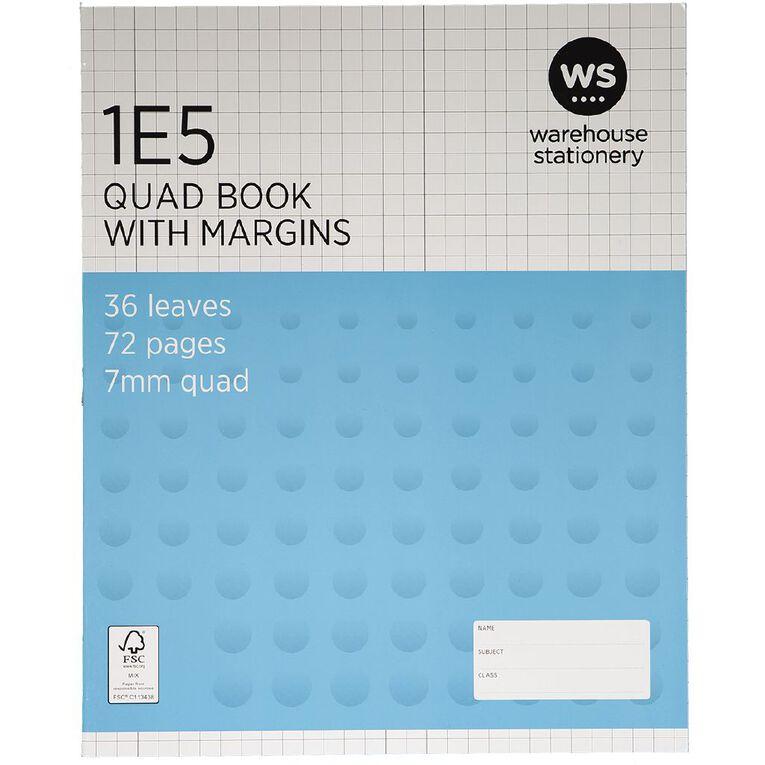 WS Exercise Book 1E5 7mm Quad 36 Leaf Plus Margin, , hi-res