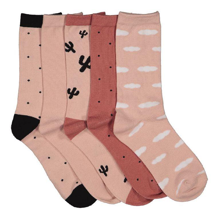 H&H Women's Crew Socks 5 Pack, Brown Light, hi-res