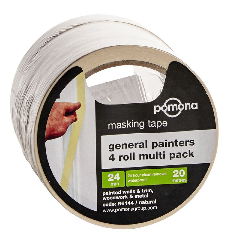 Pomona General Purpose Masking Tape White 24mm x 20m  4 Pack, , hi-res