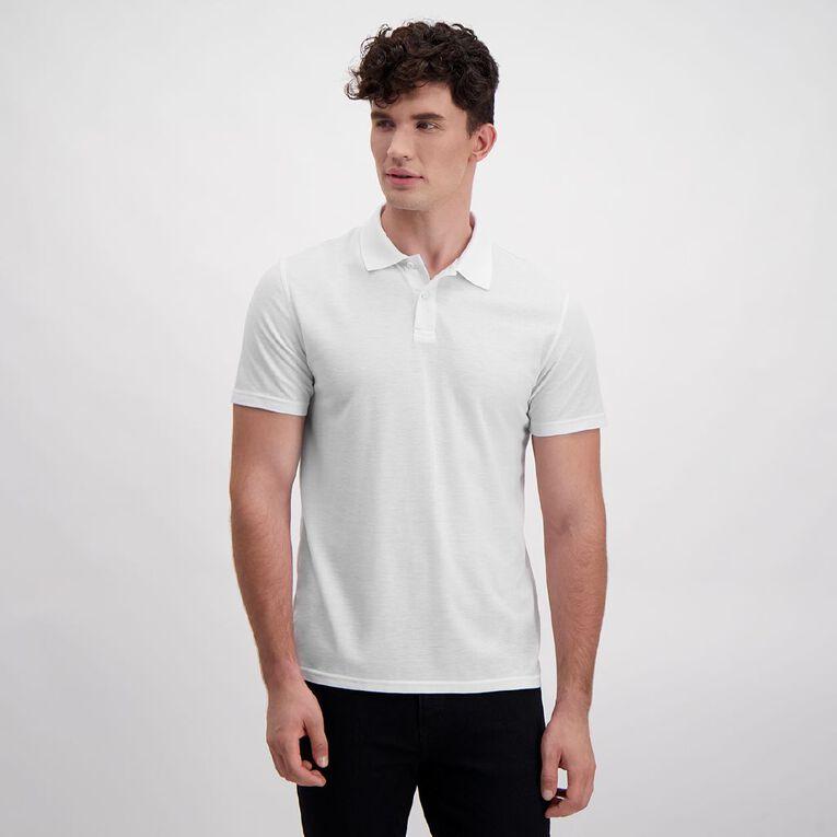 H&H Men's Short Sleeve Plain Pique Polo, White, hi-res