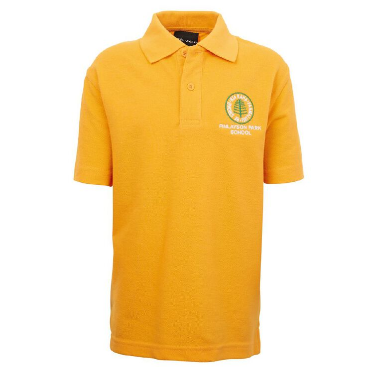 Schooltex Finlayson Park Polo with Embroidery, Gold, hi-res