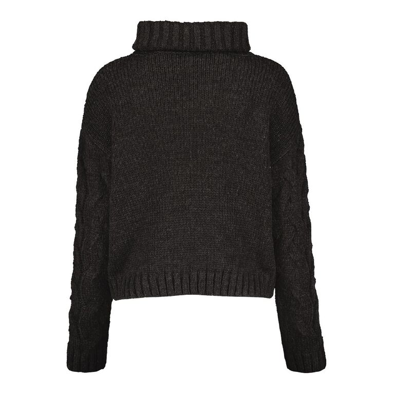 H&H Women's Cable Roll Neck Crop Jumper, Charcoal/Marle, hi-res