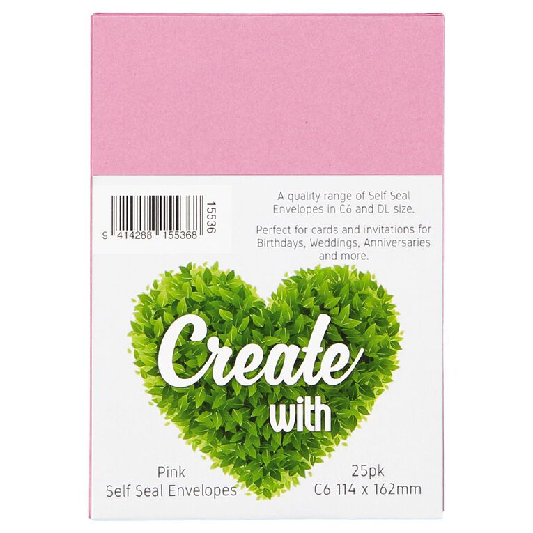 Create With C6 Envelopes 25 Pack Pink, , hi-res