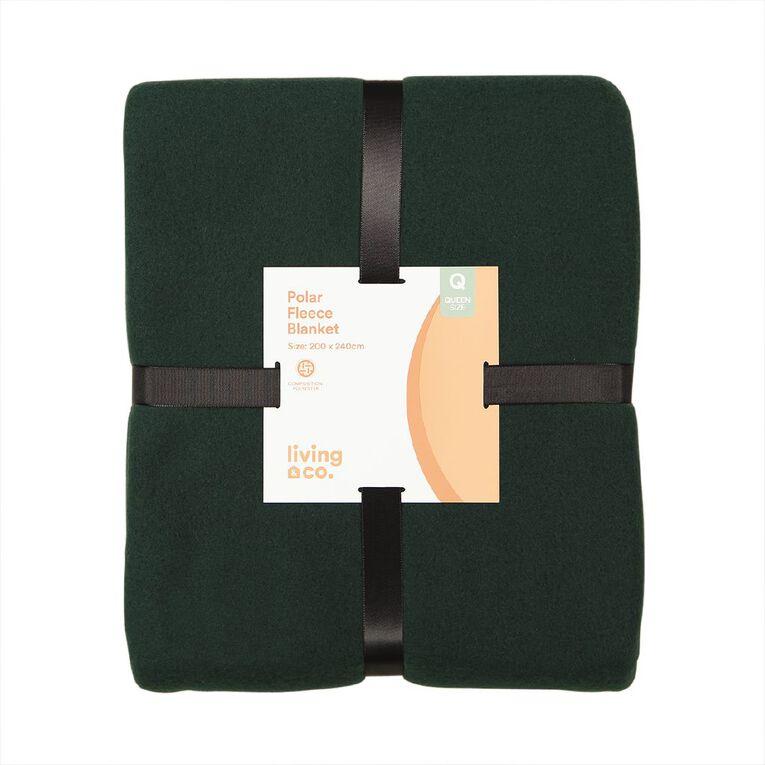 Living & Co Blanket Polar Fleece Botanical Green Queen, , hi-res