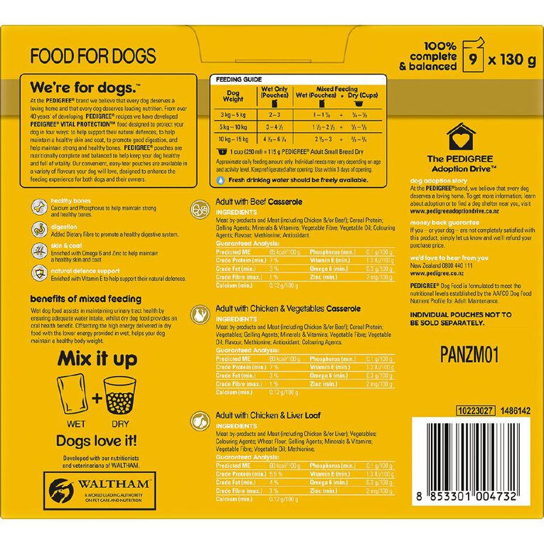 Pedigree Adult Wet Dog Food With Chicken and Liver Loaf 9 x 130g Pouches, , hi-res