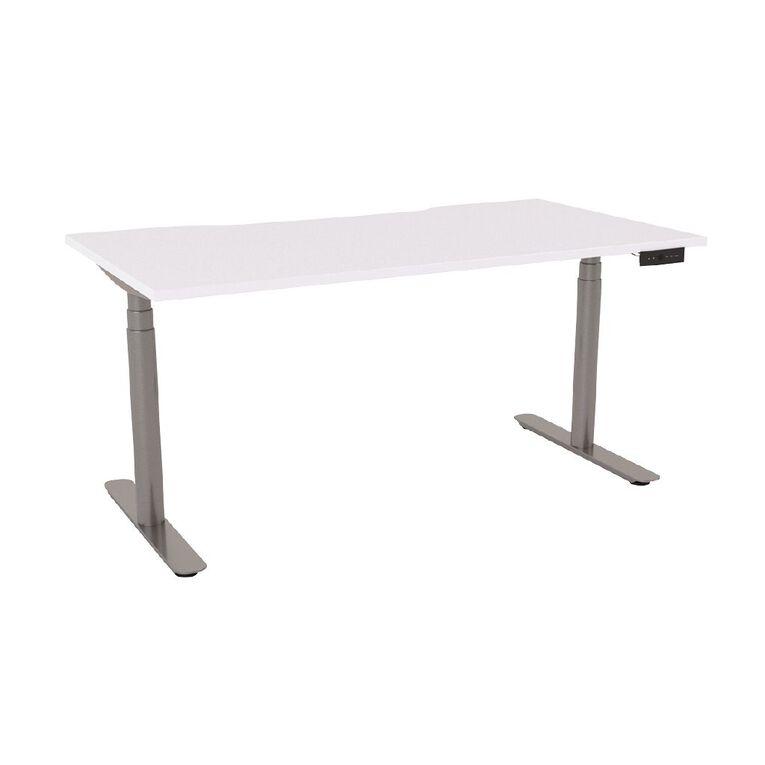 Agile Round Electric Desk 1500 Scallop Top Silver Frame White Top, , hi-res