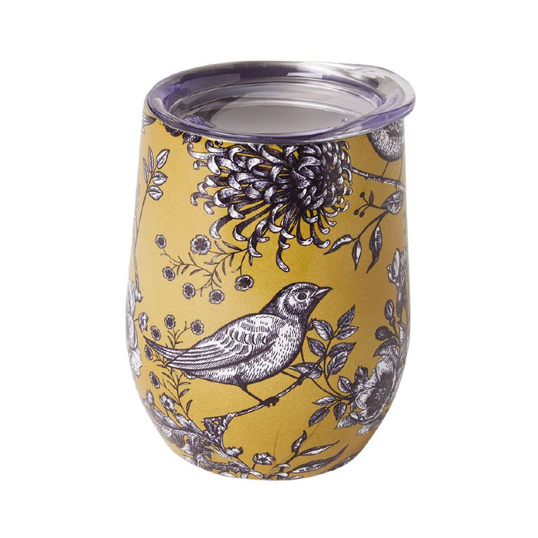 Living & Co Stainless Steel Double Walled Travel Cup Birds, , hi-res