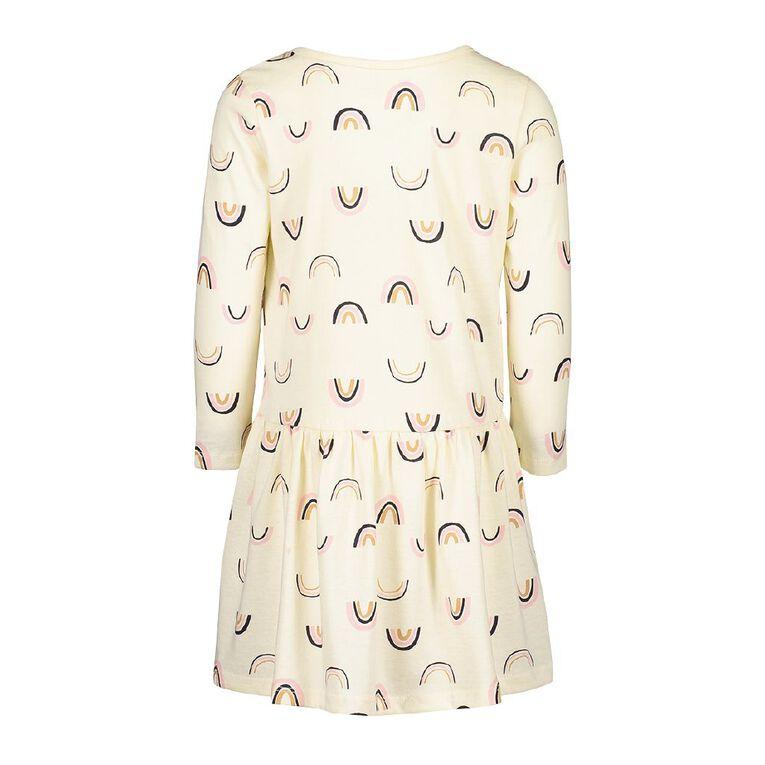 Young Original Toddler Long Sleeve Printed Dress, Cream, hi-res