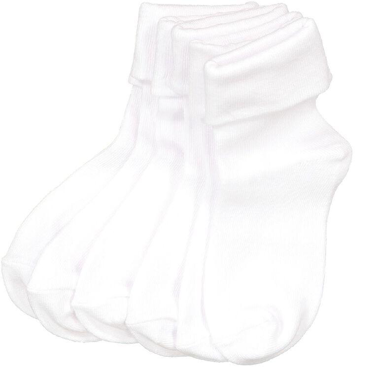 H&H Girls' Turnover Ankle School Socks 6 Pack, White, hi-res image number null