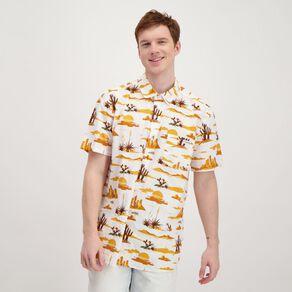 H&H Men's Short Sleeve All Over Print Slub Shirt
