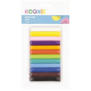 Kookie Modelling Clay Multi-Coloured 12 Pack