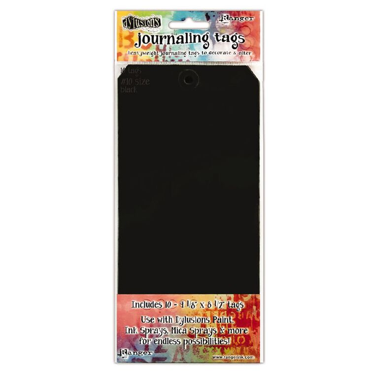 Ranger Dylusions Black #10 Tags 4.125 X 8.5 Inches 10 Pack, , hi-res