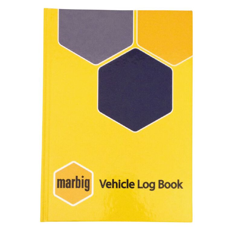 Marbig Vehicle Logbook Hard Cover Yellow A5, , hi-res